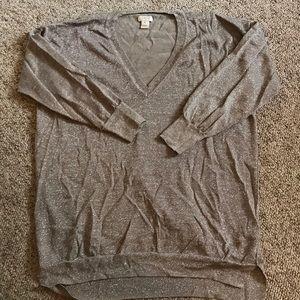 JCrew Gold Shimmer VNeck Sweater